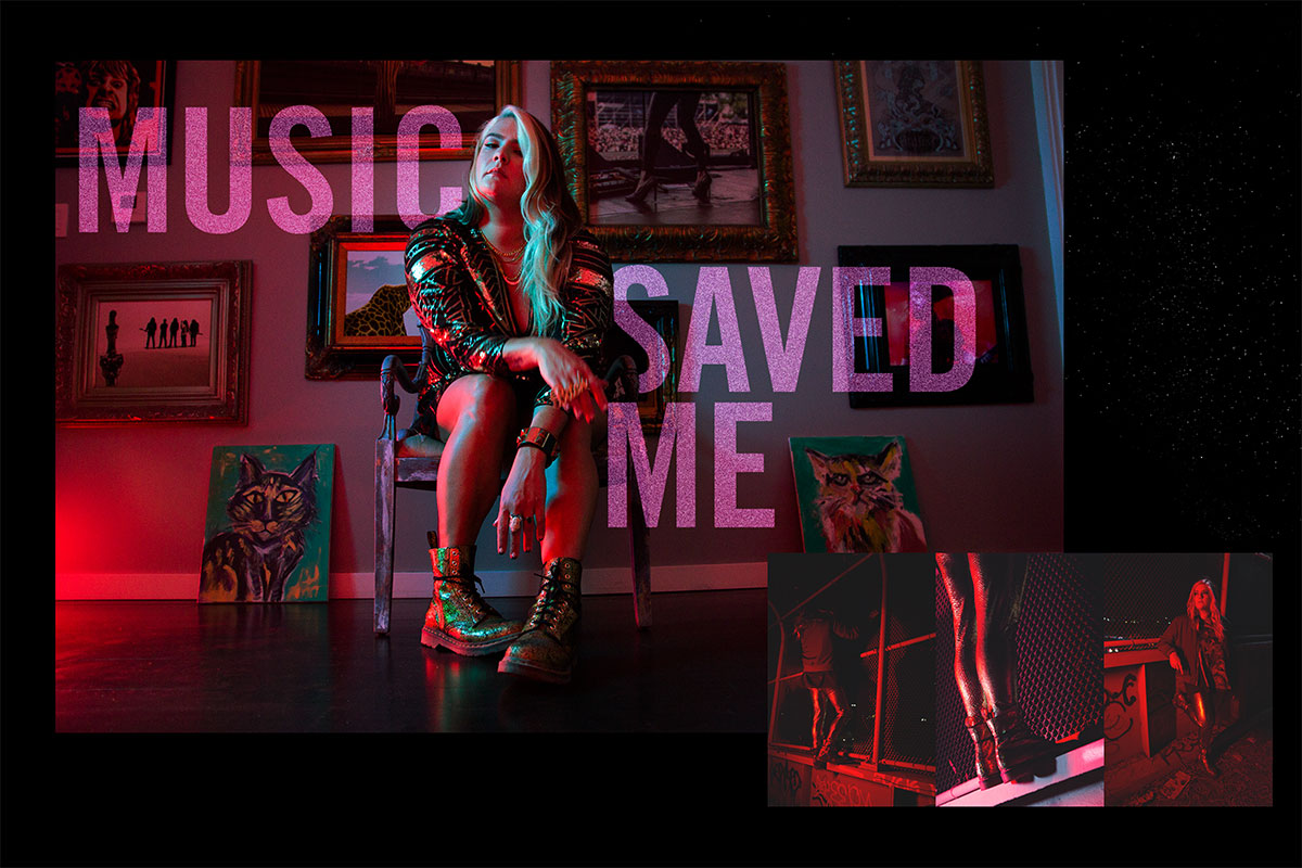 """A collage of photos featuring Ali in red and blue lighting highlighting her docs, seated by a wall of hanging art with the text """"Music Saved Me."""" Also showing Ali with graffiti and chainlink fences."""