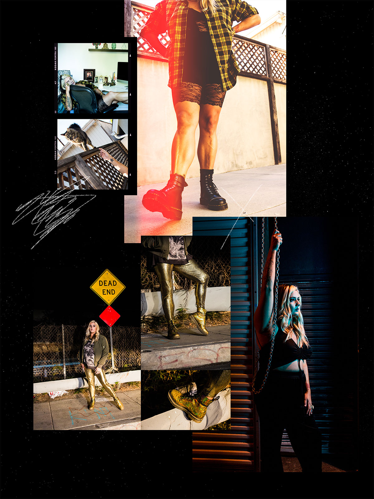 A collage of photos featuring Ali in different poses and outfits on the street and in a home, highlighting her use of boots in creating street fashion