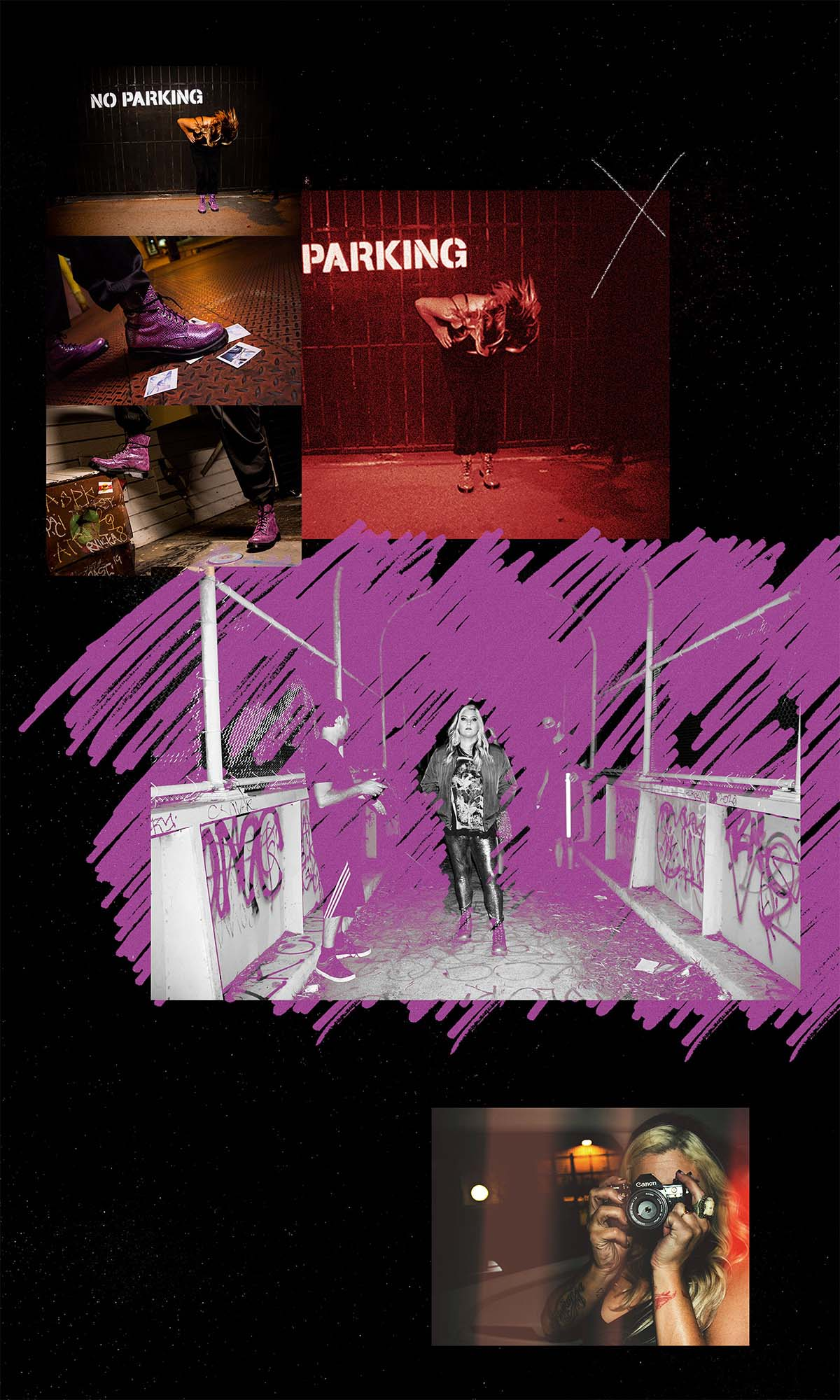 A collage of photos featuring Ali's purple Doc Martens boots, purple highlights to accentuate the focus of the photo, and Ali holding a camera to take a picture