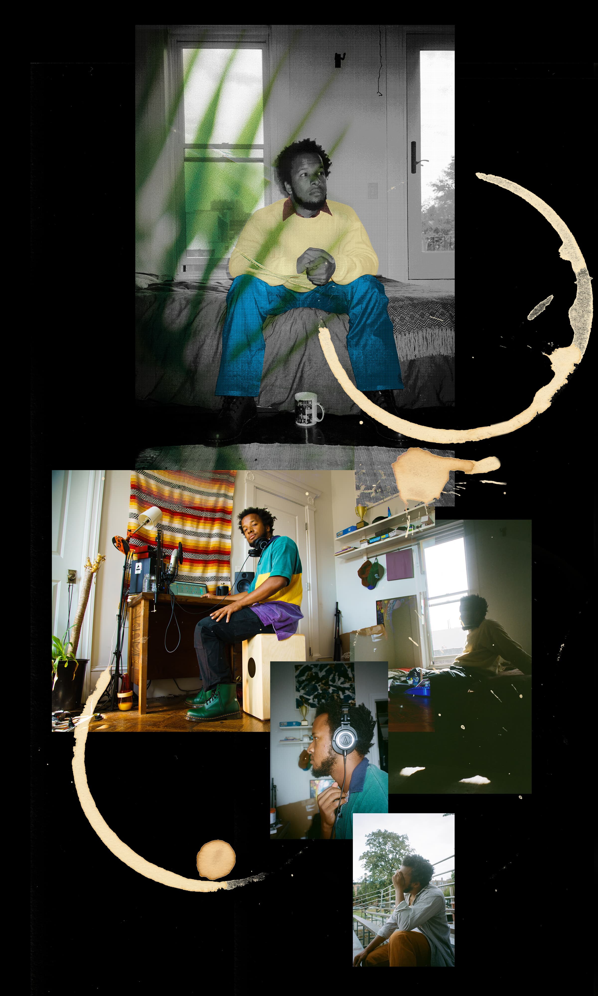 A collage featuring photos of Clay appearing to reflect inward as he records music.