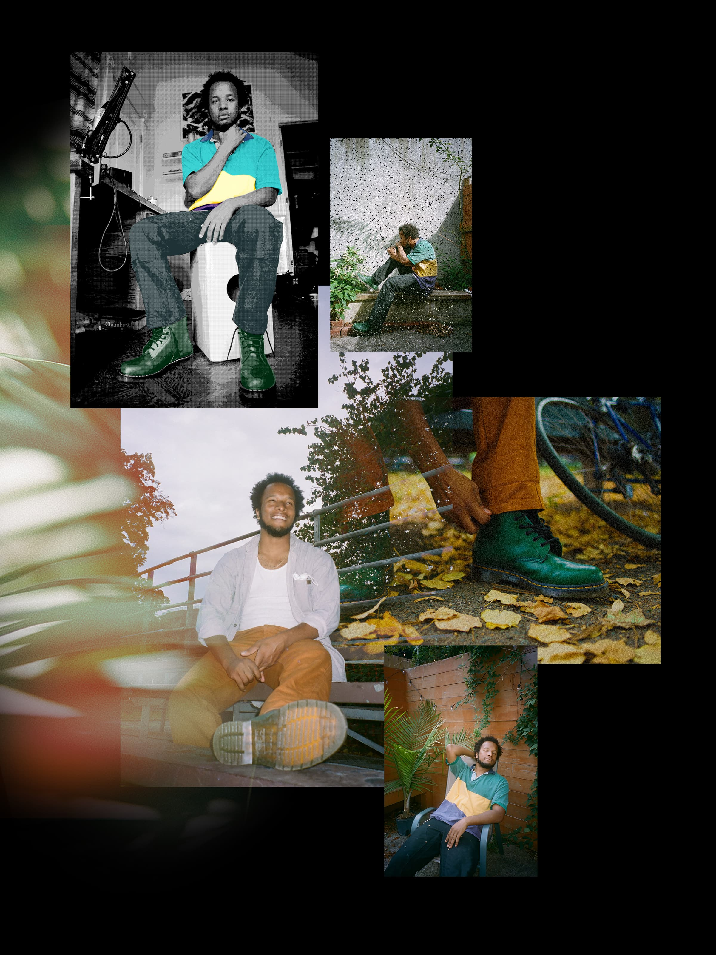 A collage of photos of Clay in ordinary life situations, his emotions range from happy and relaxed to thoughtful.