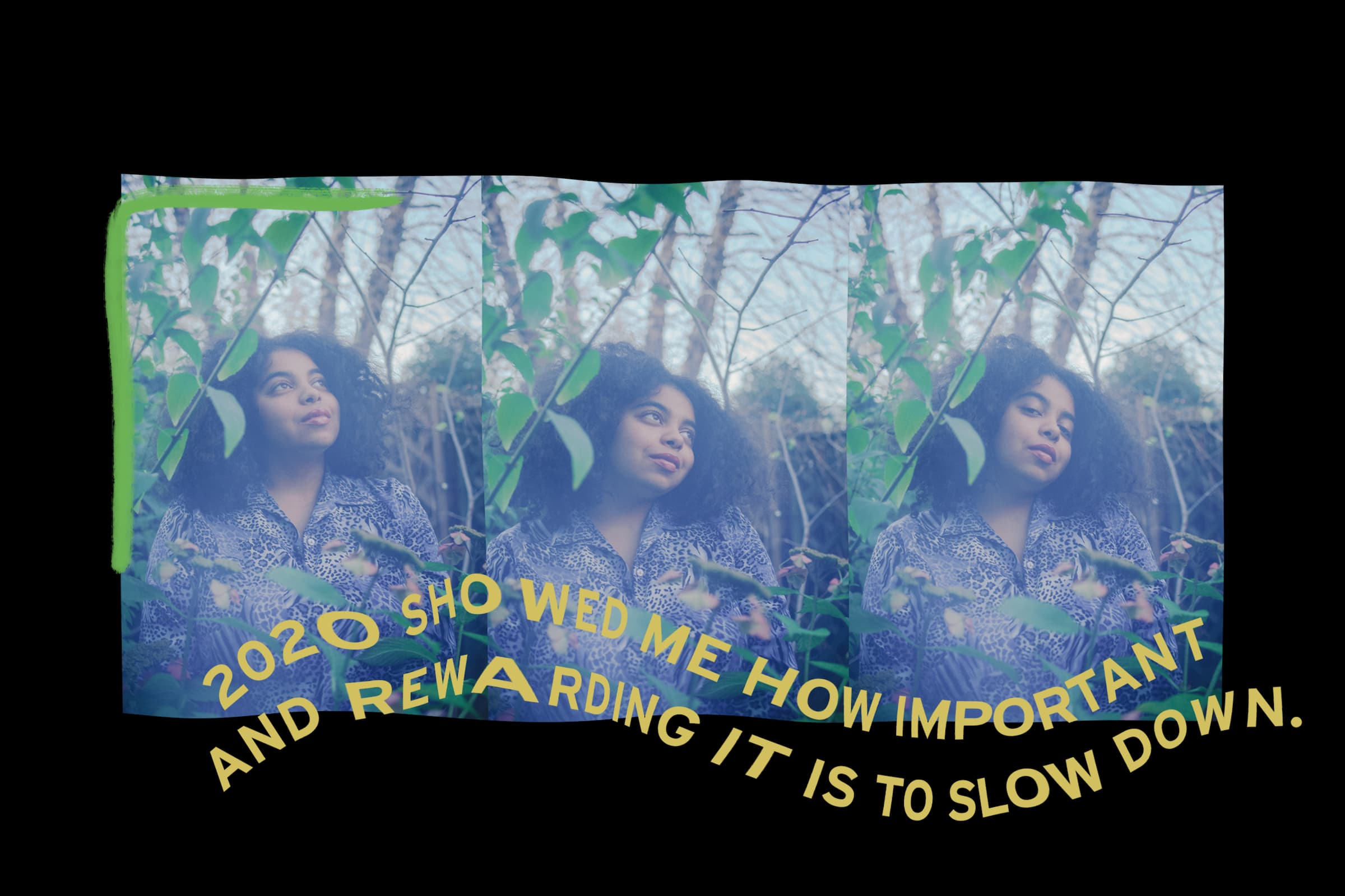 """A collage of photos showing duendita in a garden with the text """"2020 showed me how important and rewarding it is to slow down"""""""