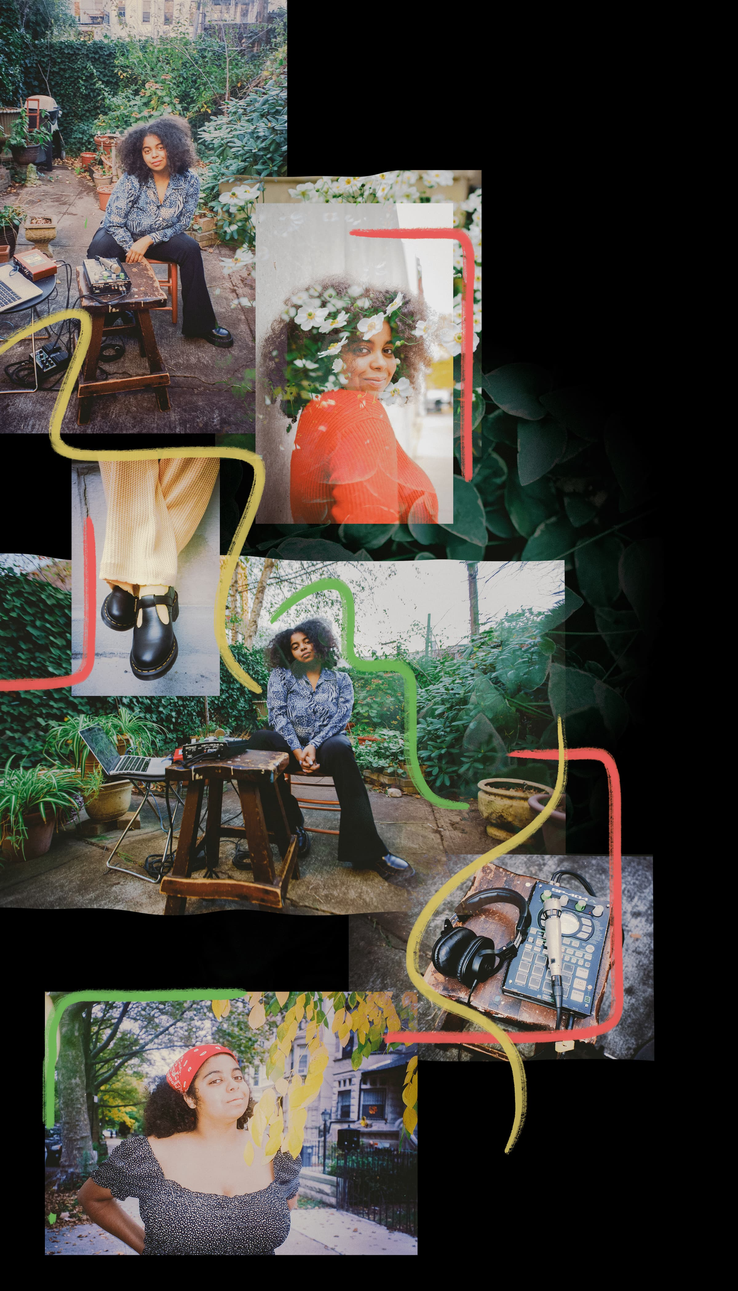 A collage of photos showing duendita in a garden, with recording equipment, highlighting her docs and outdoor recording