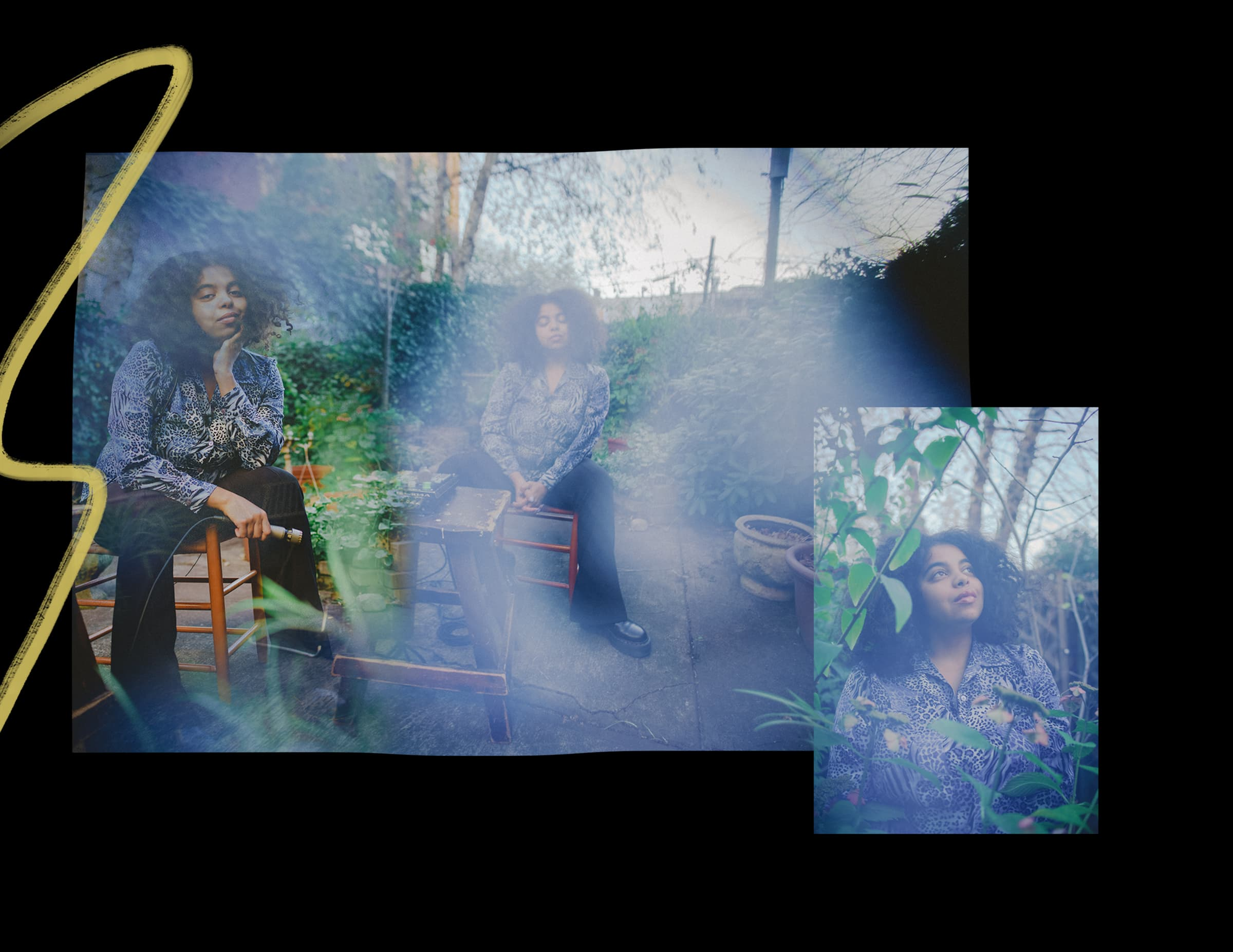 A collage of photos showing duendita with her recording equipment in her backyard.