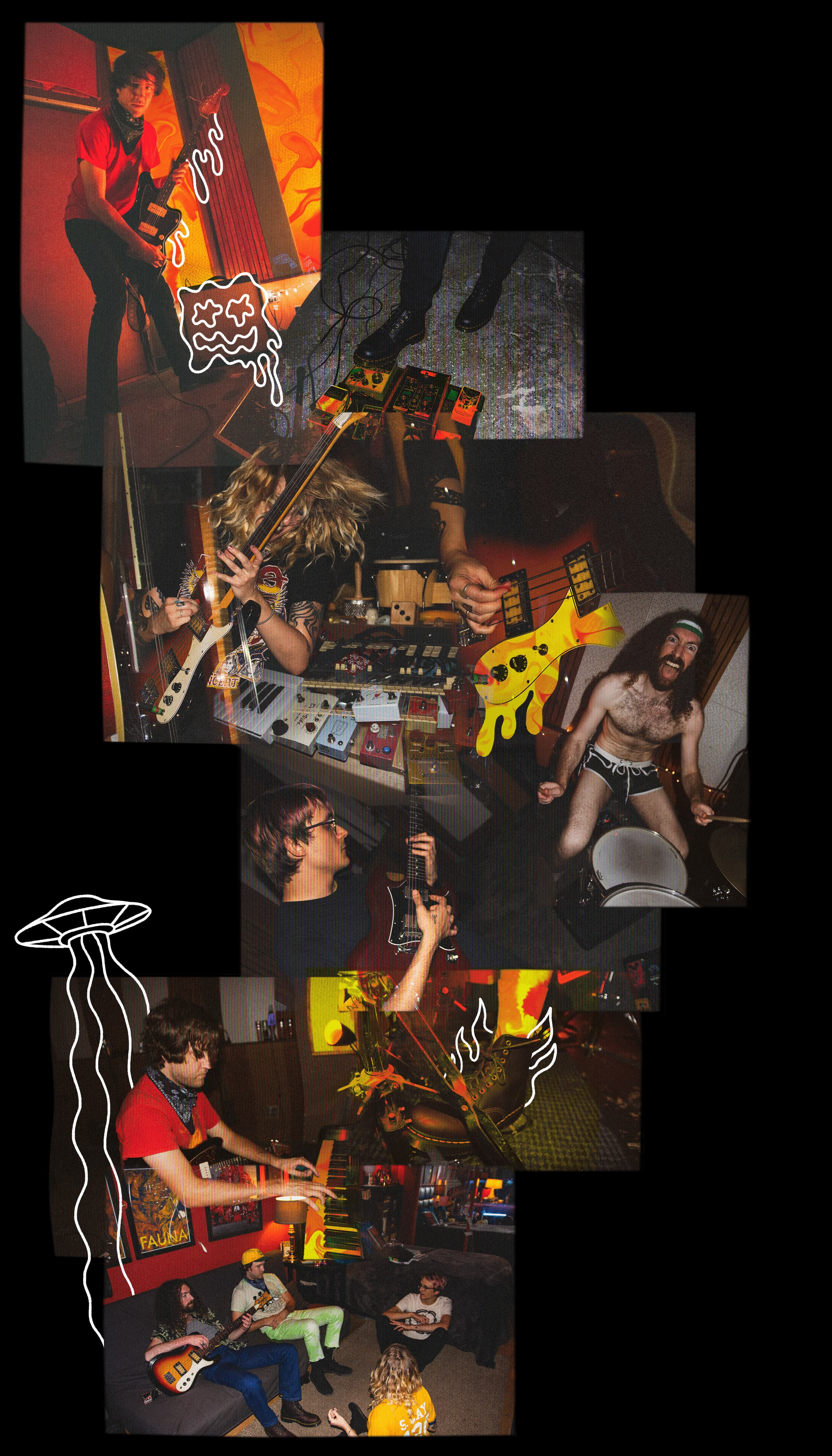 A collage of photos featuring the individual band members with handrawn illustrations as highlights