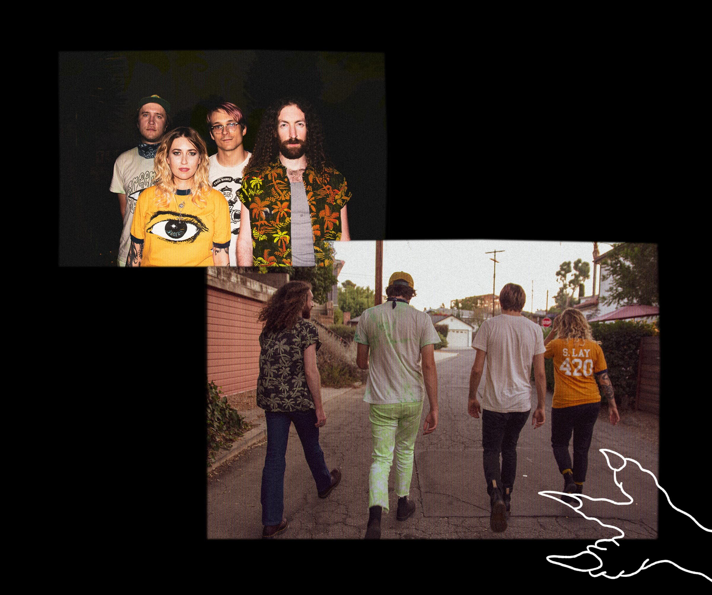 Two photos of the band: one facing the camera and one with them walking away. A hand drawn lizard foot illustration included.