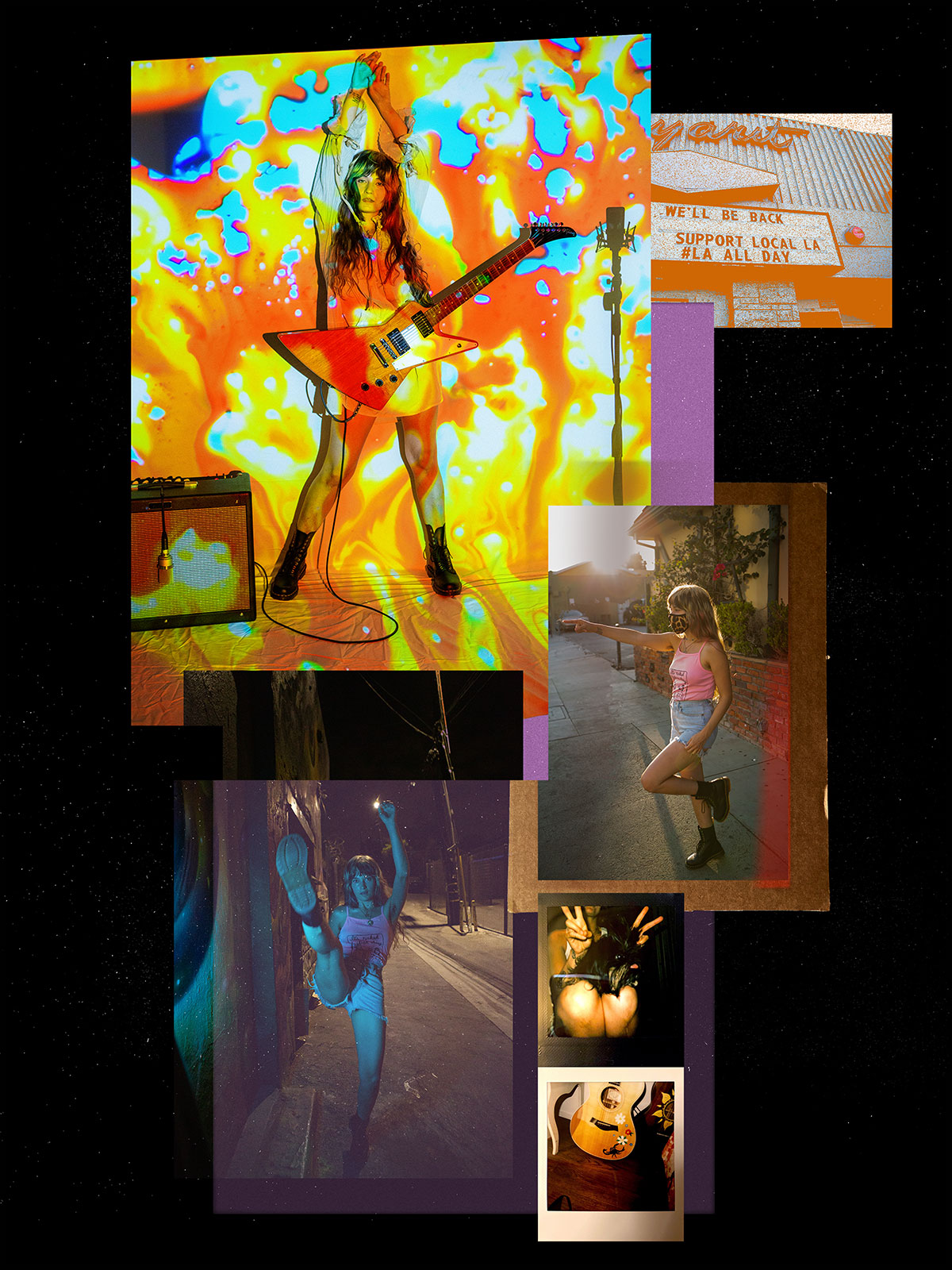 A collage of Lauren. Standing with an electric guitar with psychadelic colors, relaxing on the street wearing a mask, high kicking on the street, and close up photos of acoustic guitar