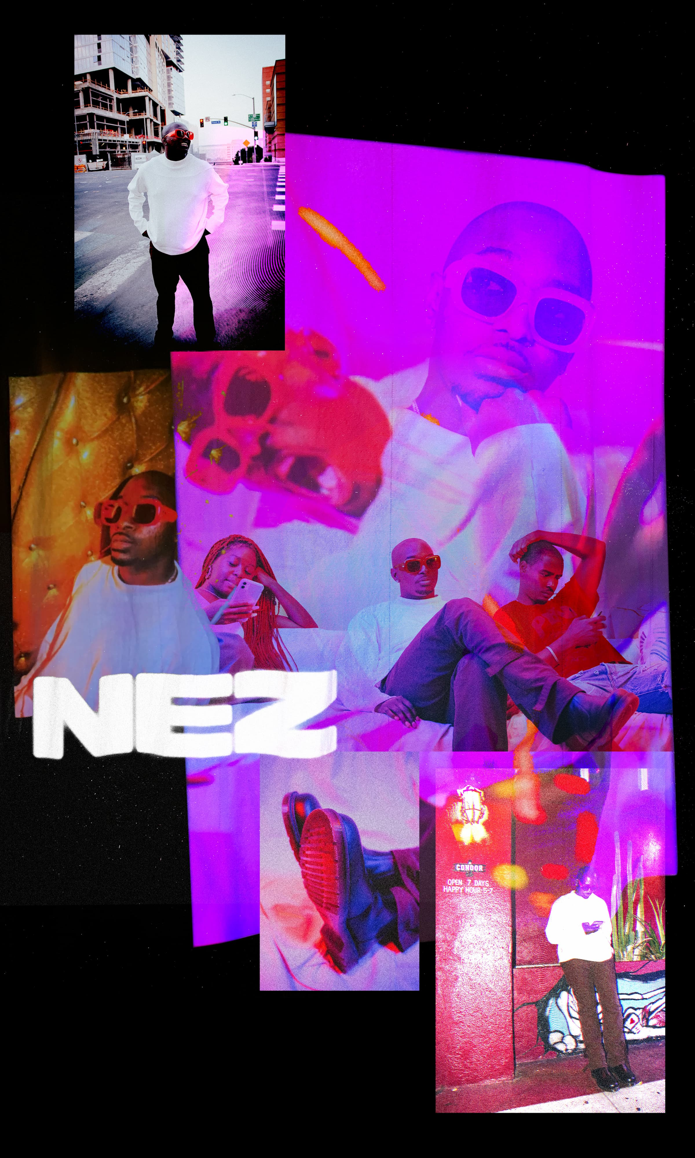A collage of photos featuring Nez in different poses and outfits on the street and in his studio with friends.