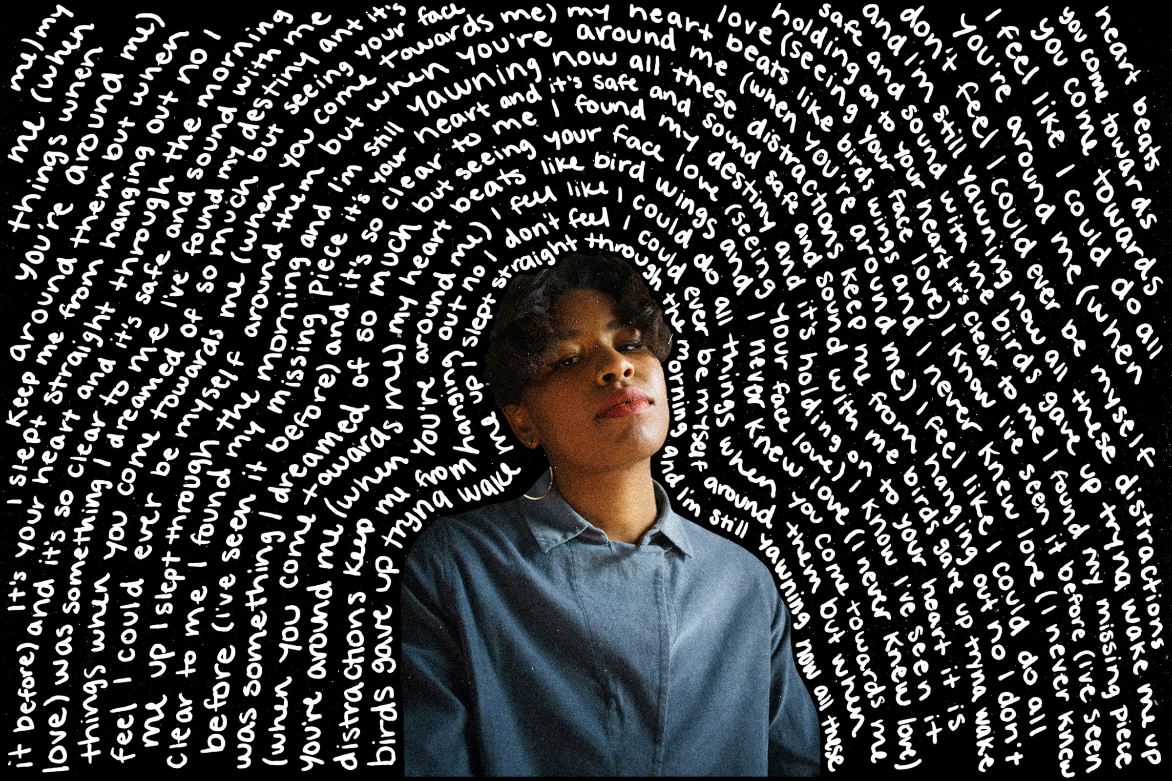 A collage of photos featuring Orion Sun with lyrics from one of her songs written around her.