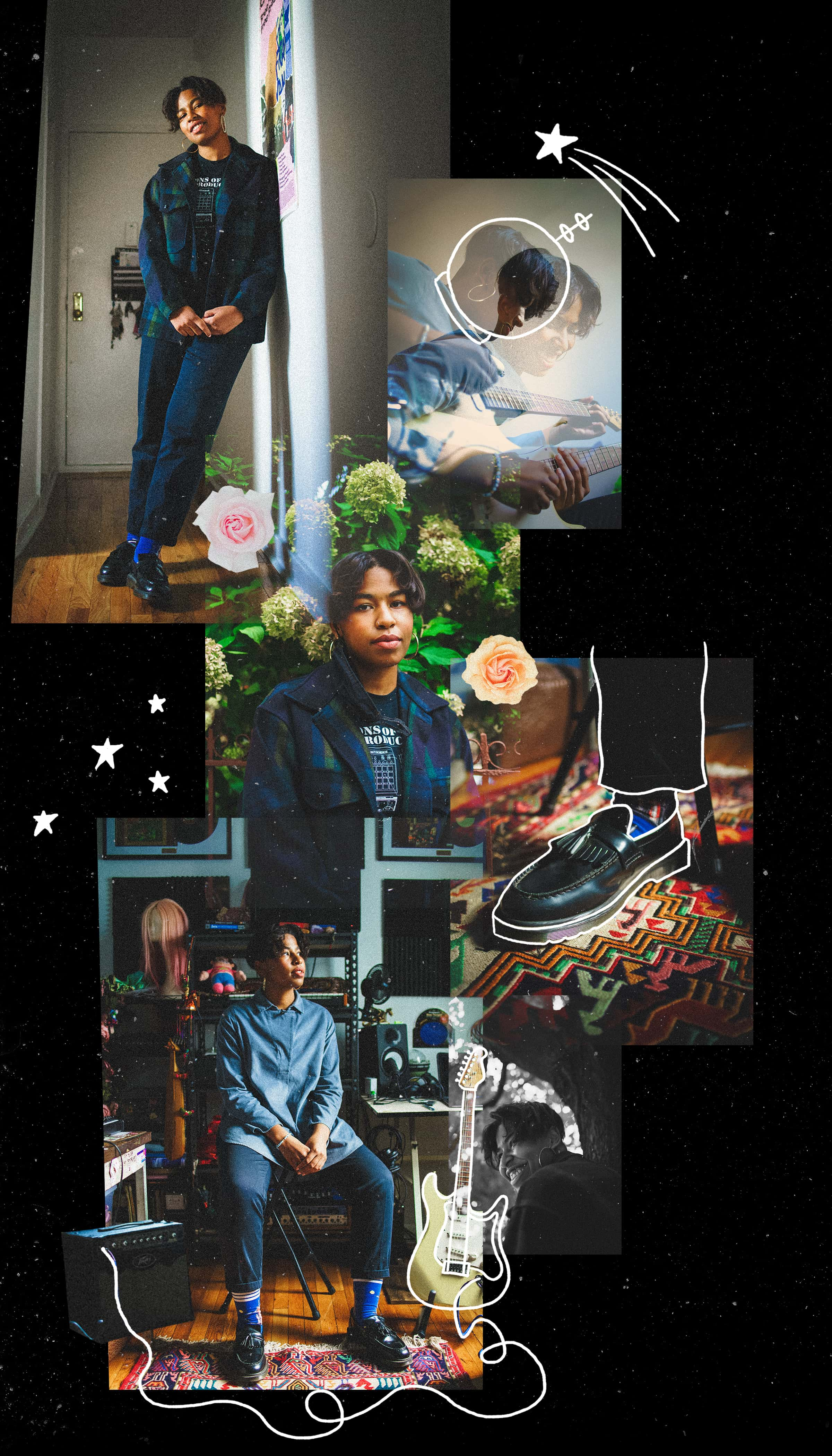 A collage of photos featuring Orion Sun surrounded by cut out flowers, hand-drawn stars, a guitar, and a space helmet.