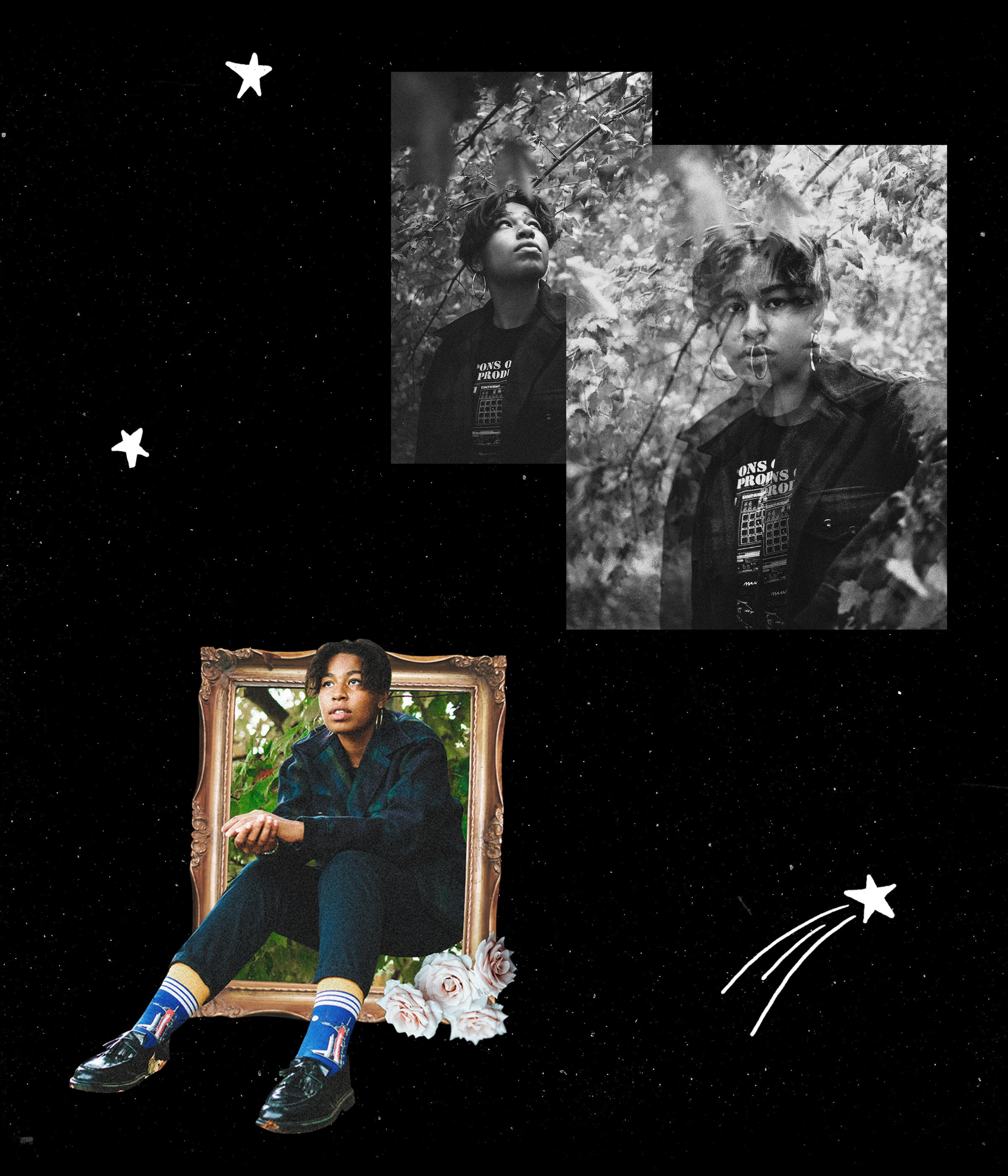 A collage of photos featuring Orion Sun sitting in a cutout frame with hand-drawn stars around her.