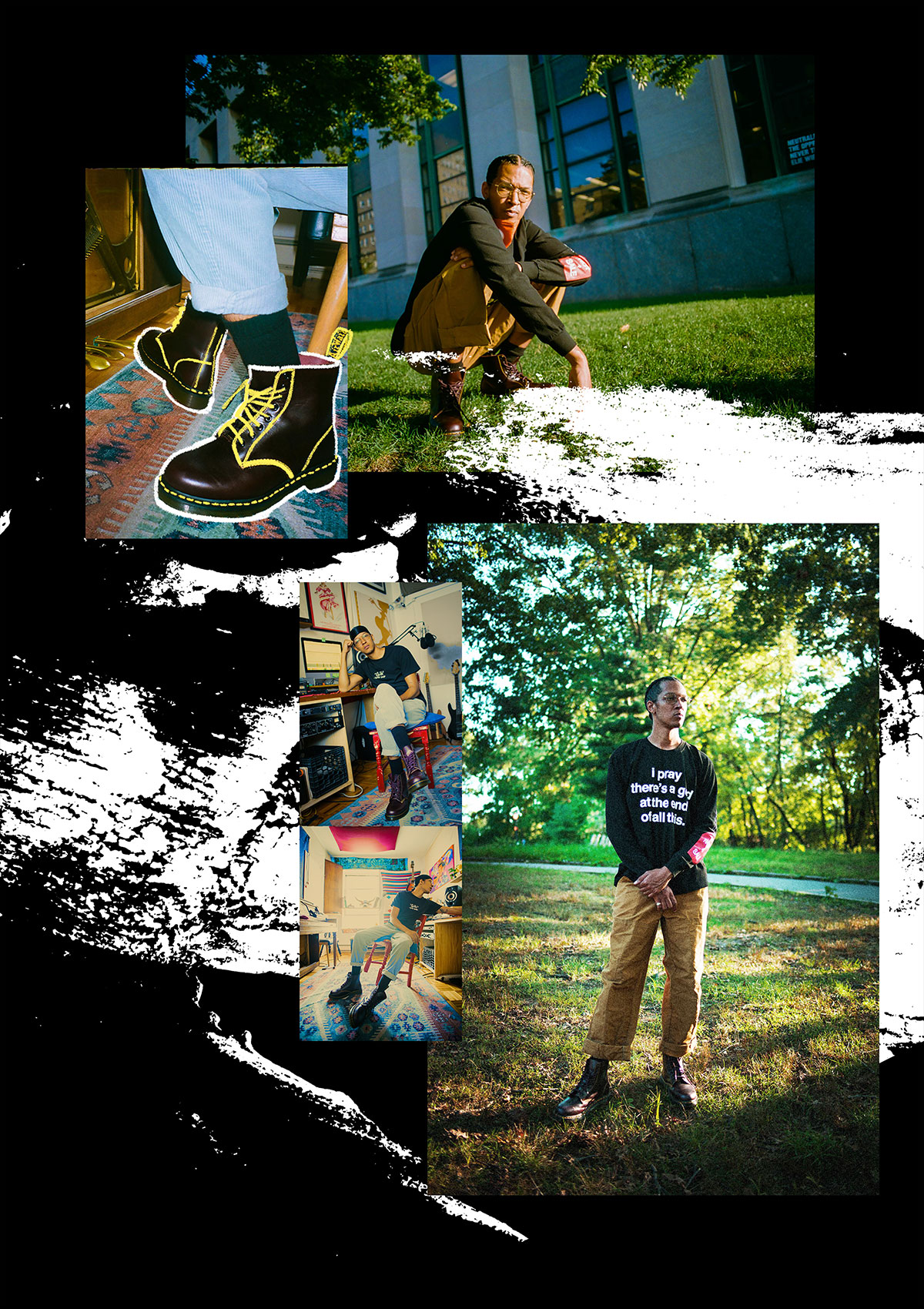 A collage of images showing him squat in the grass, showing off his Docs, posing in a workspace, candid shot in the workspace, and standing in the park with arms crossed low in front.