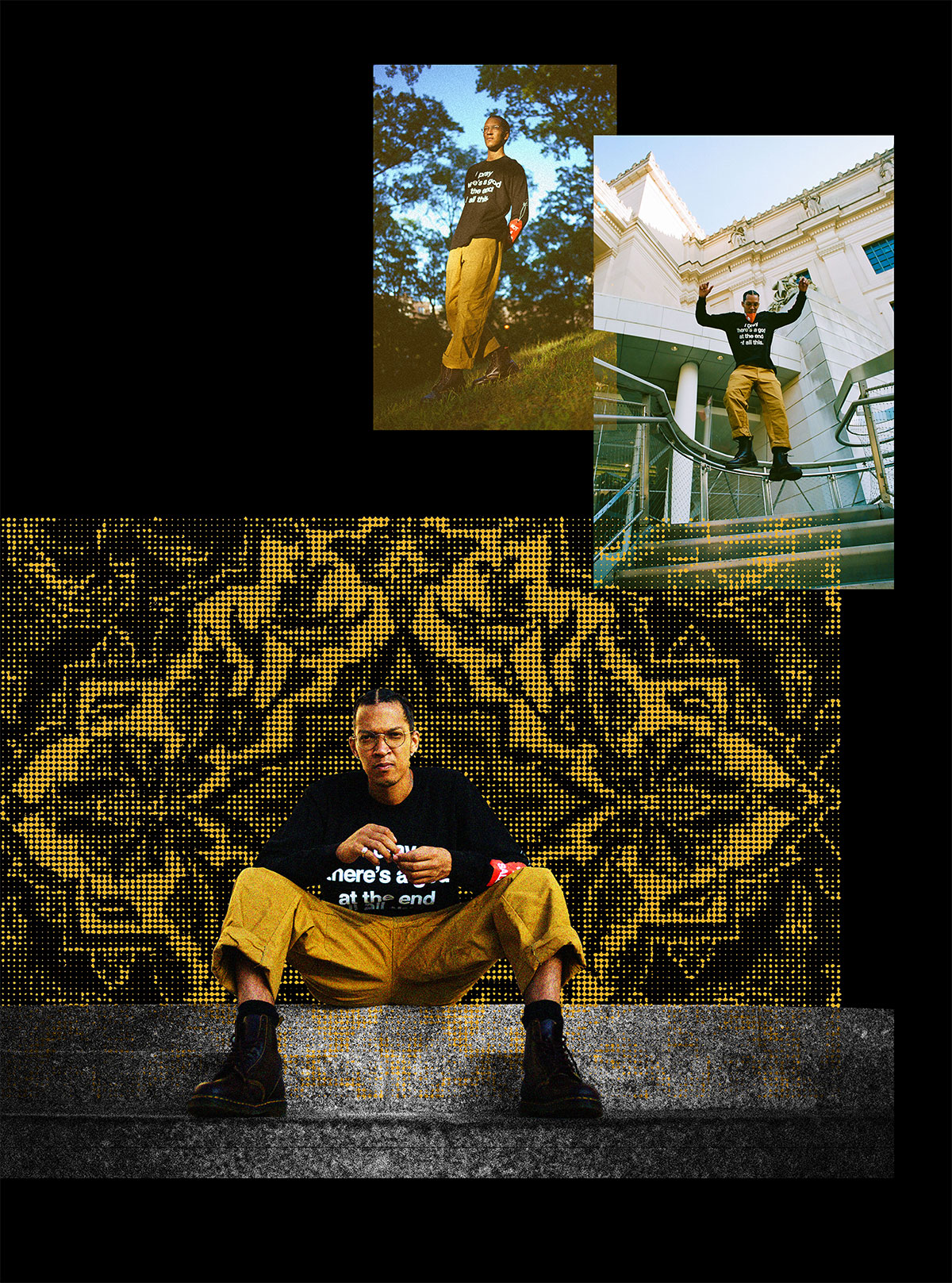 A collage of images showing him jumping down stairs, walking downhill in a park, and sitting on stairs in front of a textured background