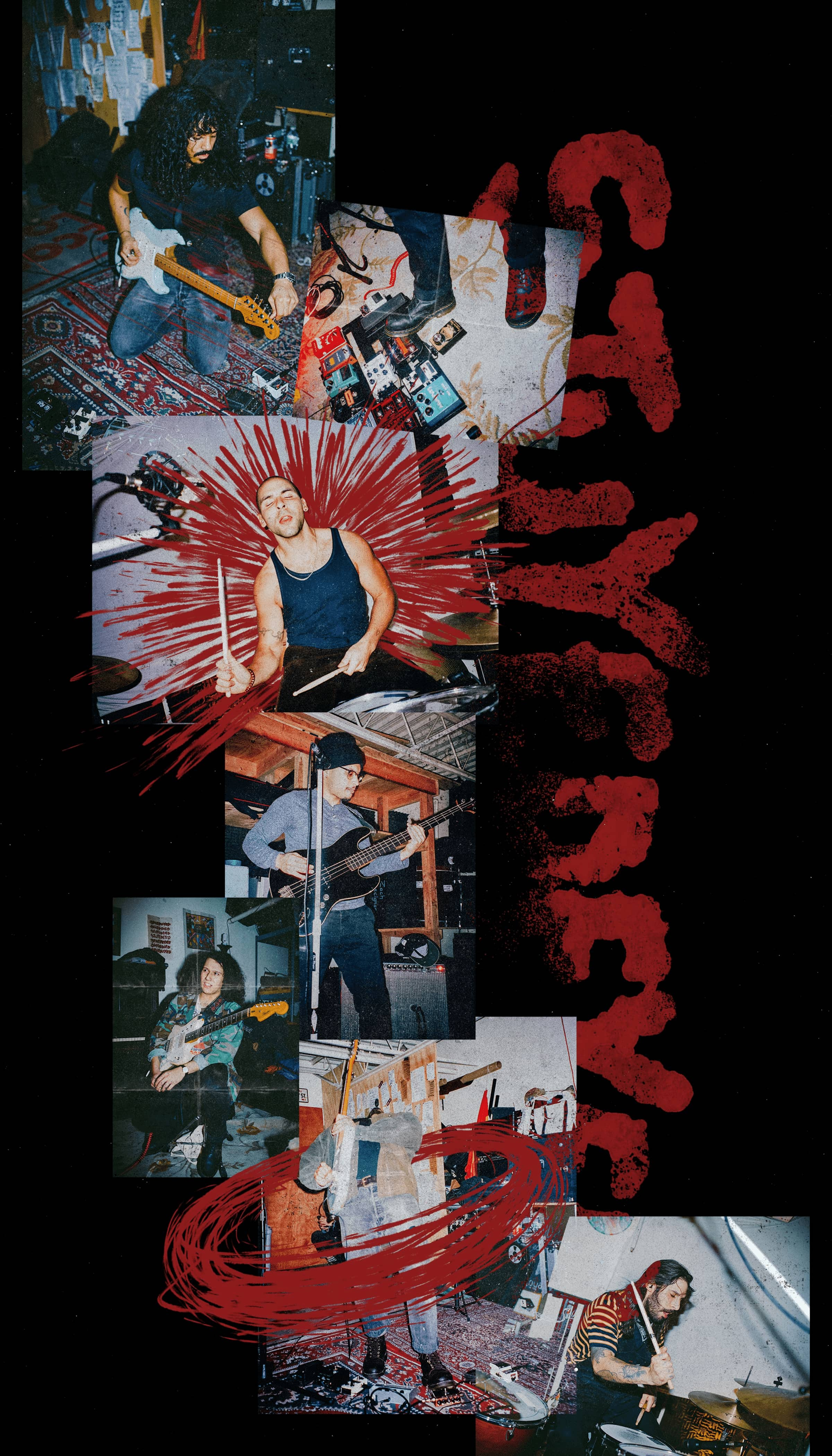 """A collage of photos of the band playing music, possibly in a basement. Red action lines are featured text: """"stuyedeyed""""."""