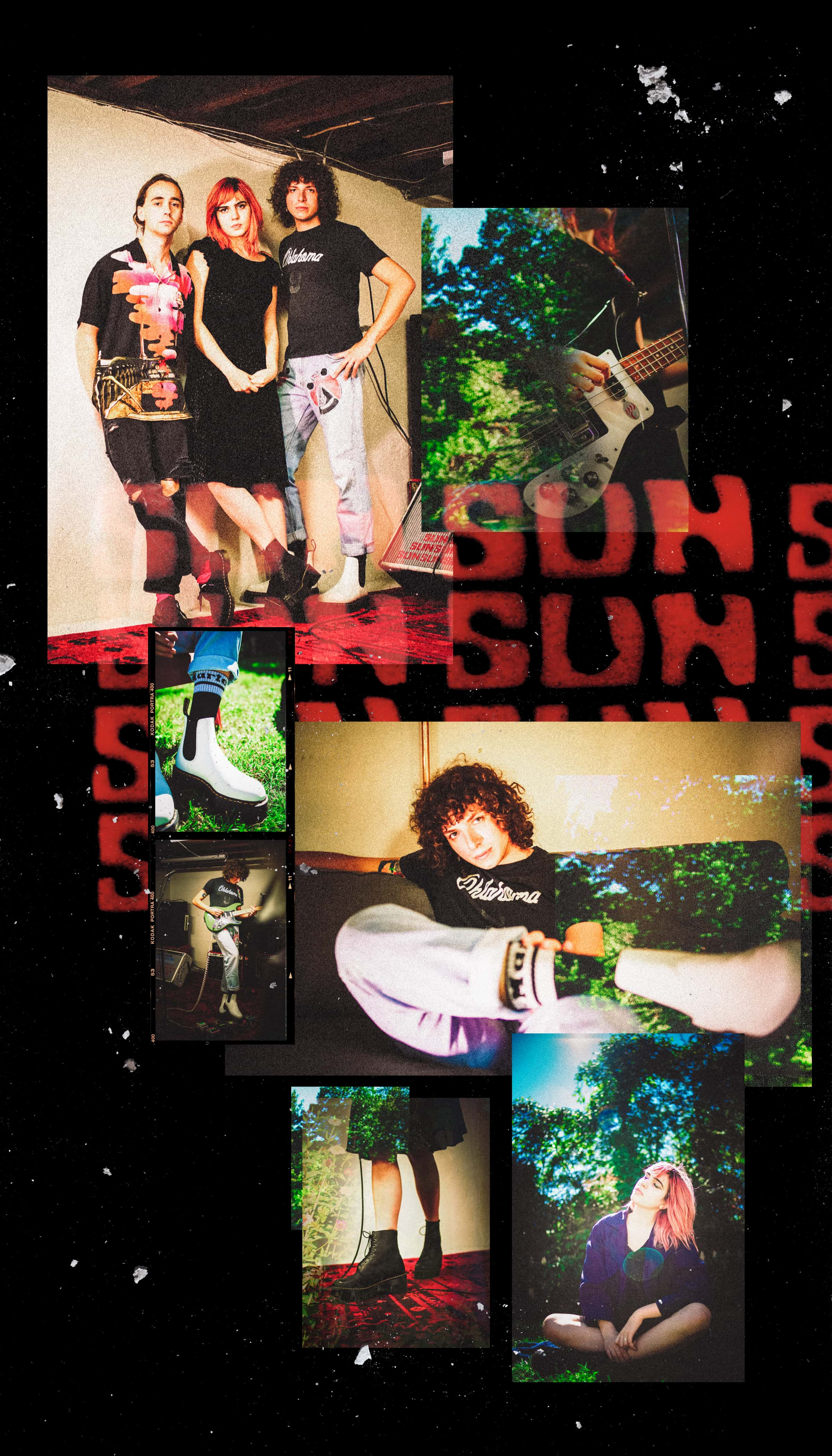 """A collage of photos depicting the trio playing music and lounging showing of their Docs. Behind the collage the word """"SUN"""" repeats."""
