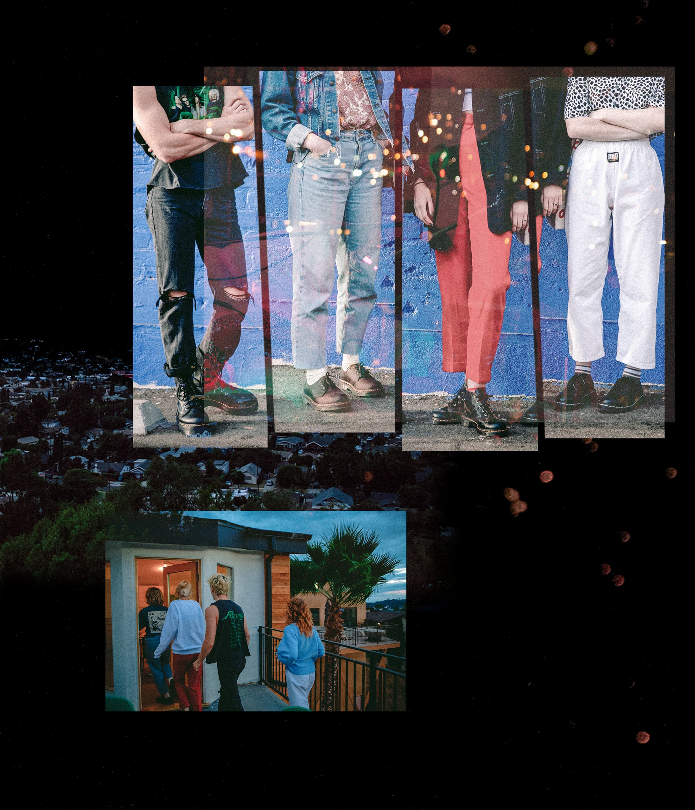 A collage of photos featuring The Regrettes standing side-by-side in front of a wall and also heading inside at dusk.