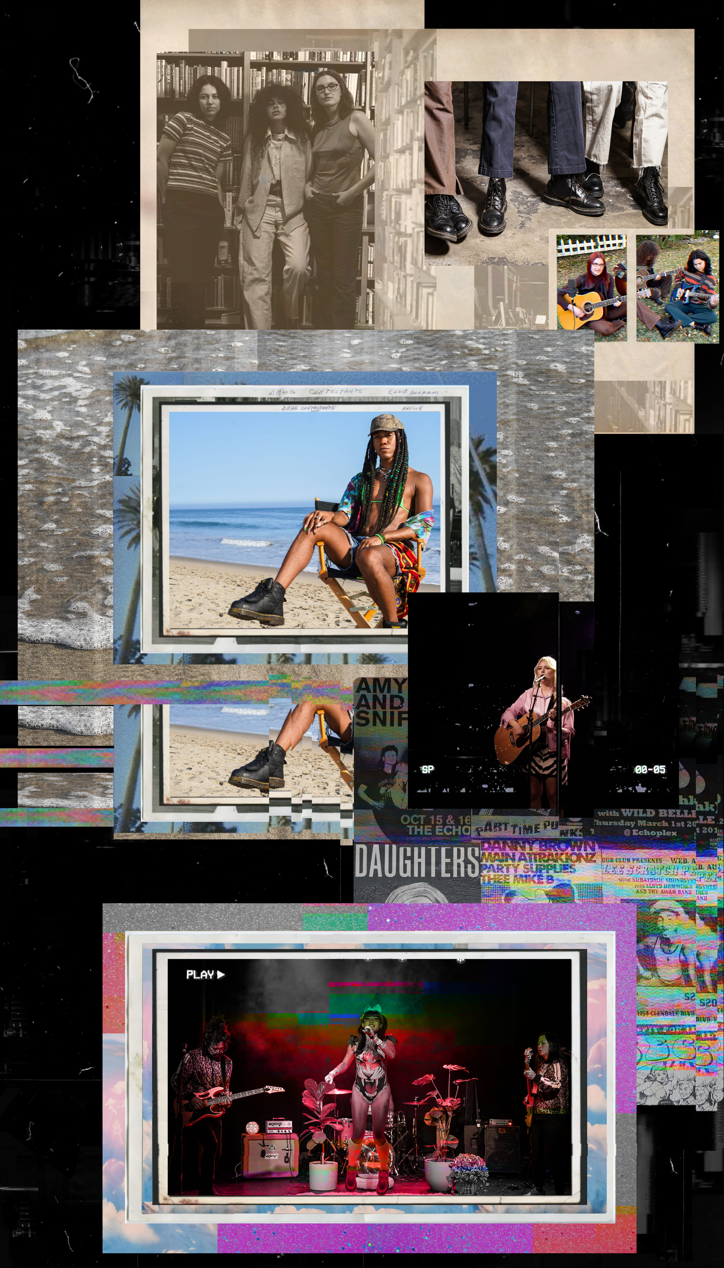 Collages of artists performing and posing, portrayed with a glitchy 90's aesthetic
